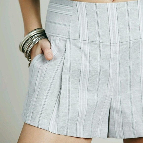 Free People Pants - New Free People Gray Austin Pleated Shorts